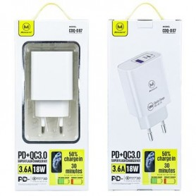 Enchufe USB y Type C 18W
